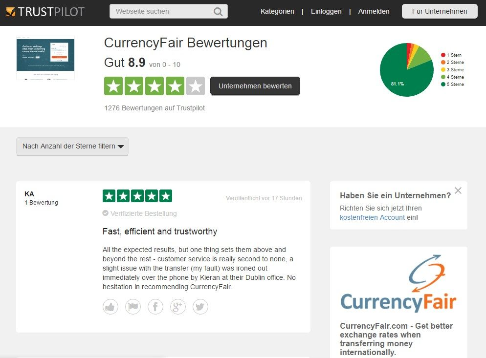 CurrencyFair Bewertungen