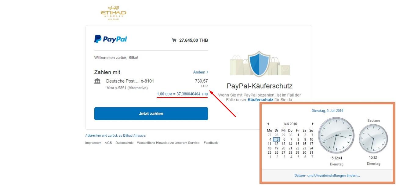 PayPal-Wechselkurs bei Auslandsüberweisungen